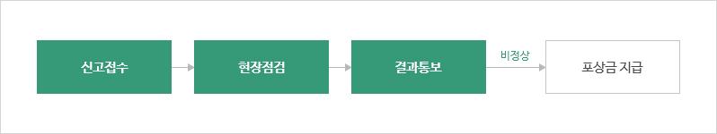 1.신고접수 / 2.현장점검 / 3.결과통보 / 4.포상금 지급